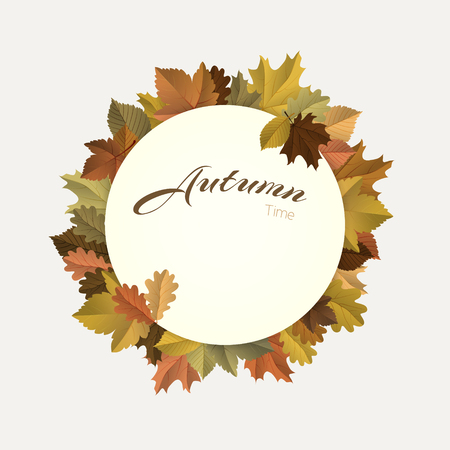 fall, autumn badges, decoration, frame with colorful leaves on light background