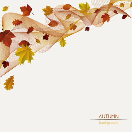 fall, autumn badges, decoration, frame with colorful leaves and stripes on light background Vectores