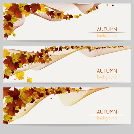 fall, autumn decoration banners with colorful leaves and stripes on light background