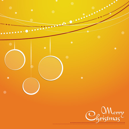 Christmas orange background with bubbles, bauble, decorative string and snow