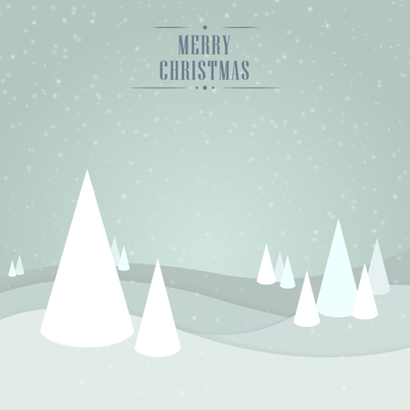 creative: Christmas light gray blue background with trees, snowflakes and wishes