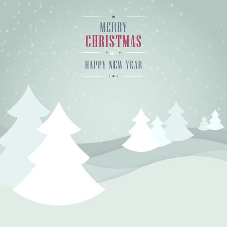 holiday background: Christmas light gray blue background with trees, snowflakes and wishes