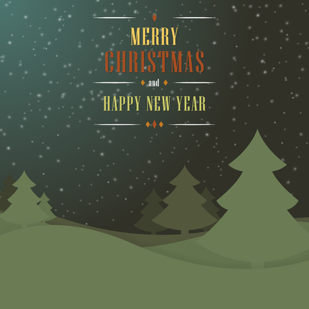 dark blue background: Christmas dark green blue background with trees, snowflakes and wishes