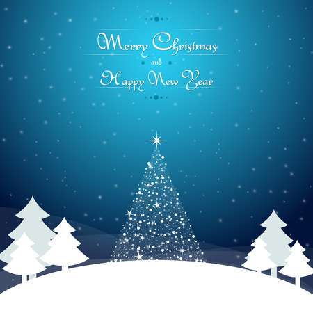 christmas concept: Christmas dark blue background with trees, snowflakes stars and wishes