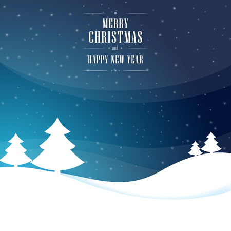 Christmas vector dark blue background with trees, snowflakes stars and wishes