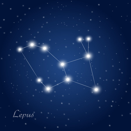 Lepus constellation at starry night sky Vectores