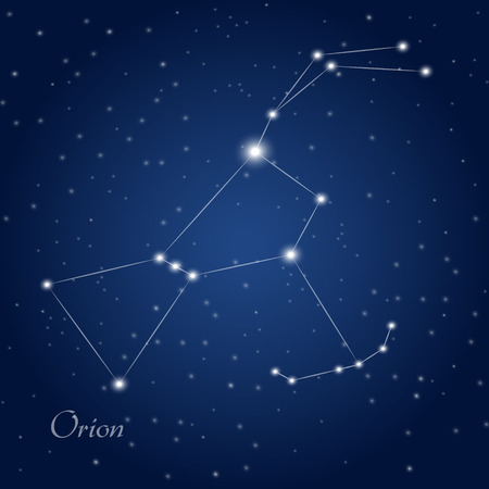 orion: Orion constellation at starry night sky