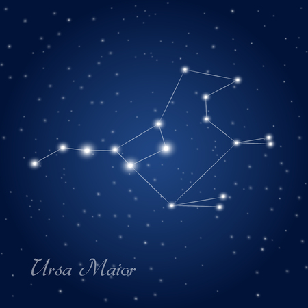 ursa: Ursa maior constellation at starry night sky