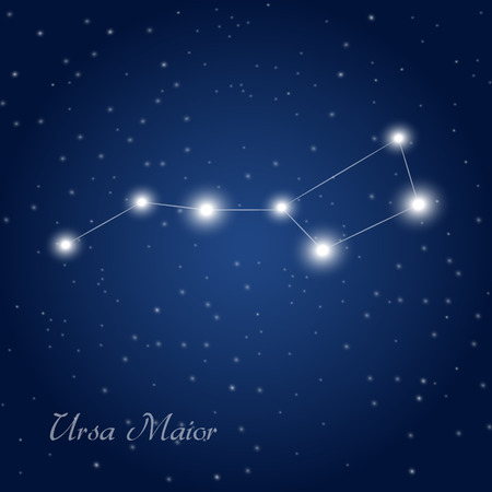 waggon: part of Ursa maior constellation at starry night sky