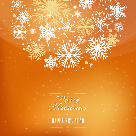 Christmas orange, yellow background with bubble, bulb, and with snowflakes.