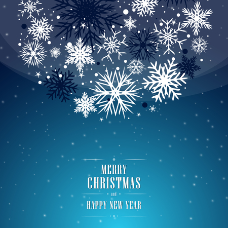 Christmas blue background with bubble, bulb, and with snowflakes. Vectores