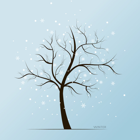 Vector winter blue background with white snow flakes and tree without leaves