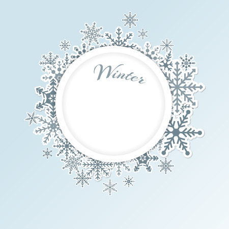 Winter light blue circle frame background with snowflakes Vectores