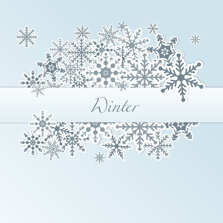Winter light blue frame background with snowflakes