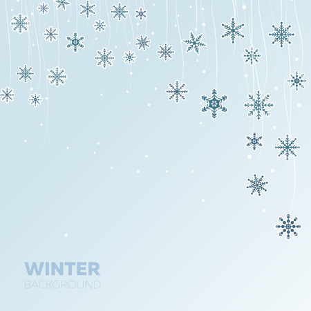 Winter light blue background with snowflakes