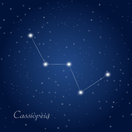 Cassiopeia constellation at starry night sky Vectores
