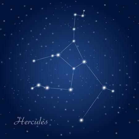 Hercules constellation at starry night sky