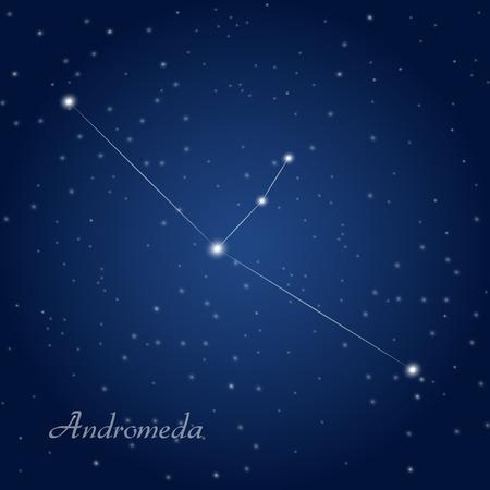 stellar: Andromeda constellation at starry night sky Illustration