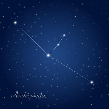 Andromeda constellation at starry night sky Vectores