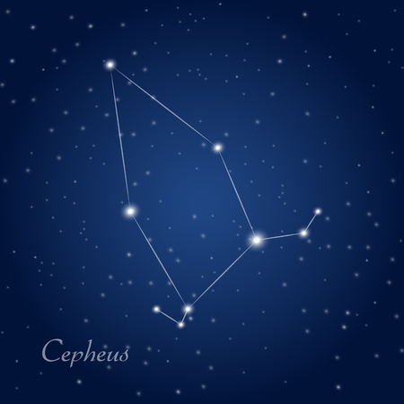 Cepheus constellation at starry night sky