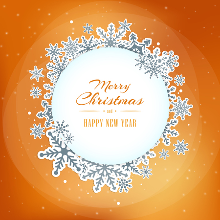 Winter christmas light blue circle frame on the orange background with snowflakes