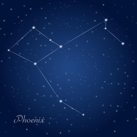 Phoenix constellation at starry night sky