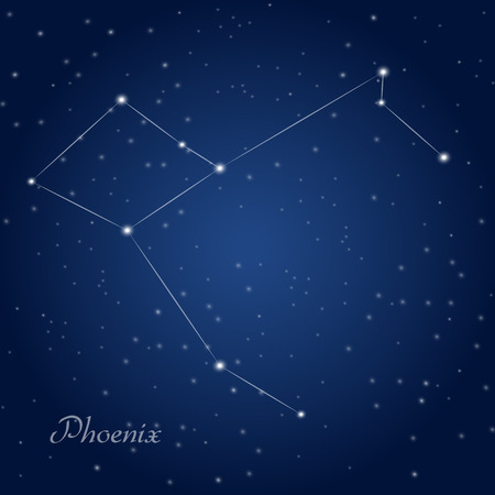 night: Phoenix constellation at starry night sky