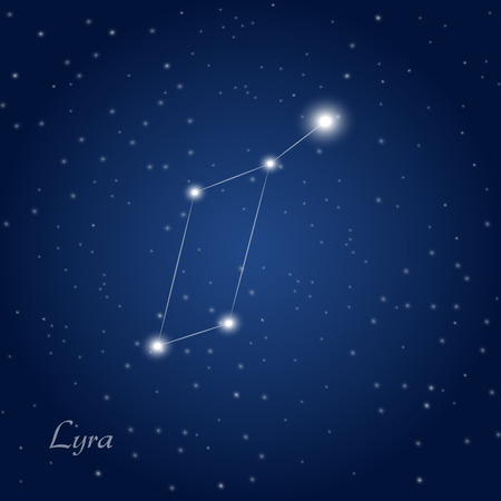 starry night: Lyra constellation at starry night sky Illustration