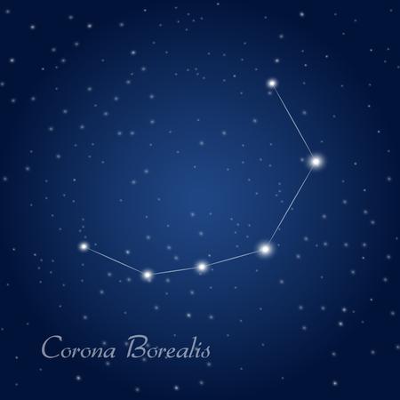 Corona Borealis constellation at starry night sky
