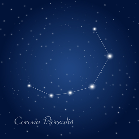 corona: Corona Borealis constellation at starry night sky