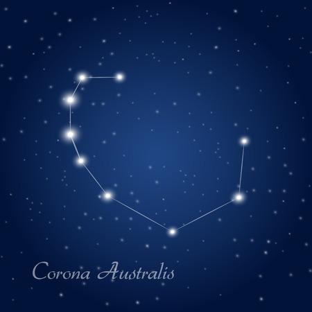Australis constellation at starry night sky