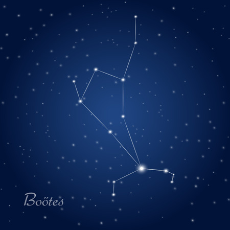 Bootes constellation at starry night sky