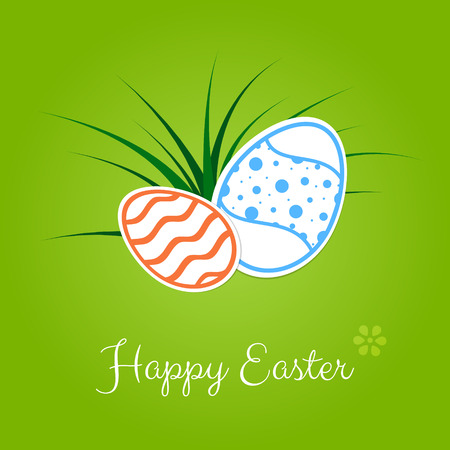 Easter card with colorfull eggs with patterns and green grass on green background