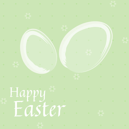 Easter card with white eggs on green background Vectores