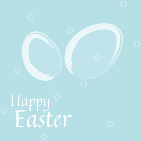 Easter card with white eggs on blue background Vectores