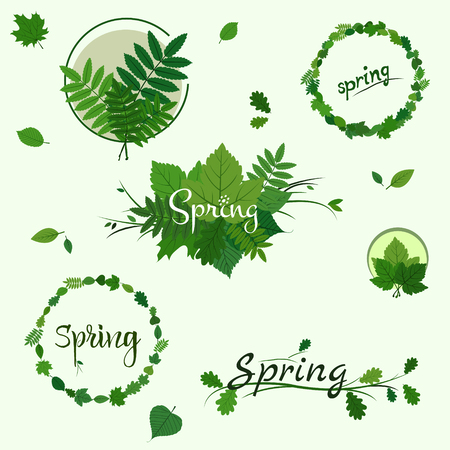 Set of Spring badges, decoration with green leaves on light green background Vectores
