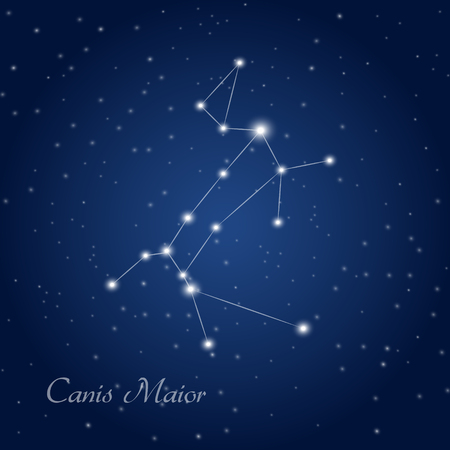 Canis Maior constellation at starry night sky Vectores
