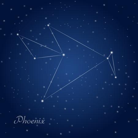 Phoenix constellation at a starry night sky