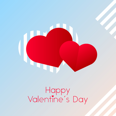 two red heart, love, Valentine's day hearts with text on light pink and white background with abstract lines