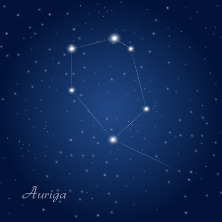 Auriga constellation at starry night sky
