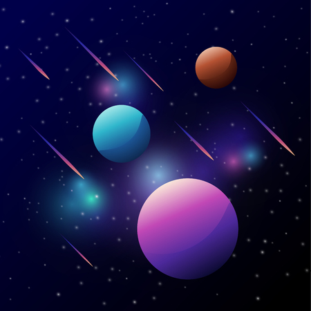 Universe, space with colorful planet and meteor above dark sky, galaxy and stars. Vectores
