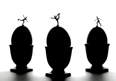 Figure skating on eggs Stock Photo