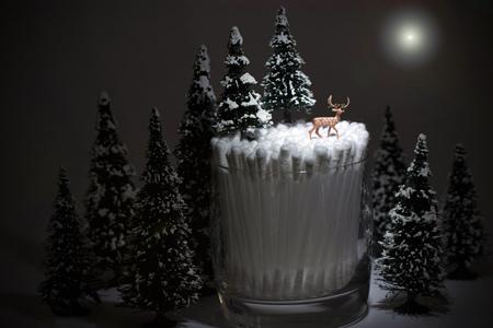 winter landscape, deer on qtips in the moonlight Фото со стока