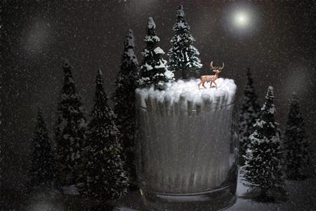 winter landscape, deer on qtips in the moonlight Banco de Imagens