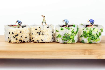 ricefarmers on sushi rolls
