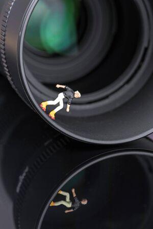 Roller skater in a diffusing lens hood