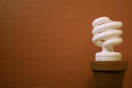 Compact fluorescent lightbulb in a flowerpot against a brown wall Banco de Imagens