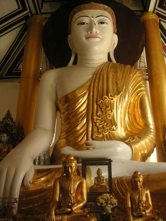 Buddha statue in Shwedagon Pagoda in Yangon, Maynmar photo