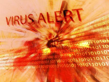 virus informatico: Alarma del virus de la computadora Foto de archivo
