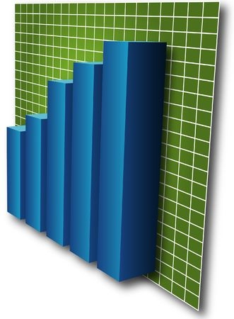 commissions: 3d Barchart, blue bars on green grid